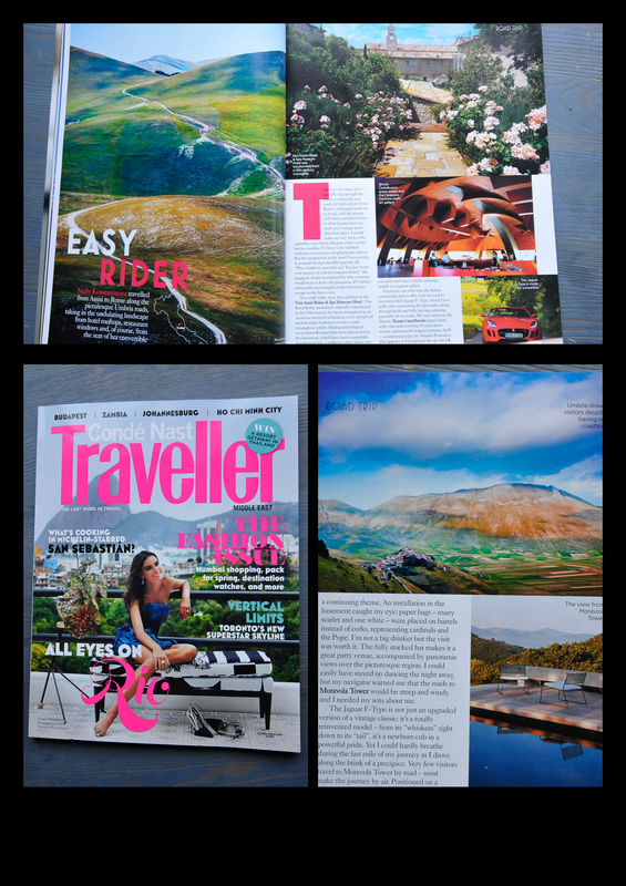 Condé Nast Traveller magazine featuring Kimmo Savolainen Photography's work, one full page and one Castelluccio landscape, in their travel story set around Umbria area in Italy.